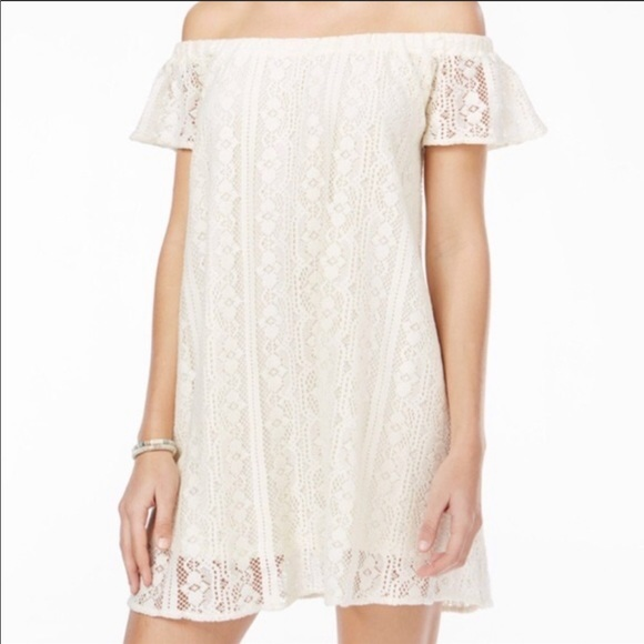 Roxy Dresses & Skirts - Roxy crochet off the shoulder white dress size Med